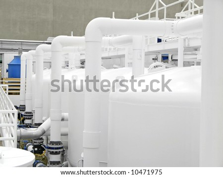 Water purification system at Secret Garden Dolphin Habitat. - stock photo