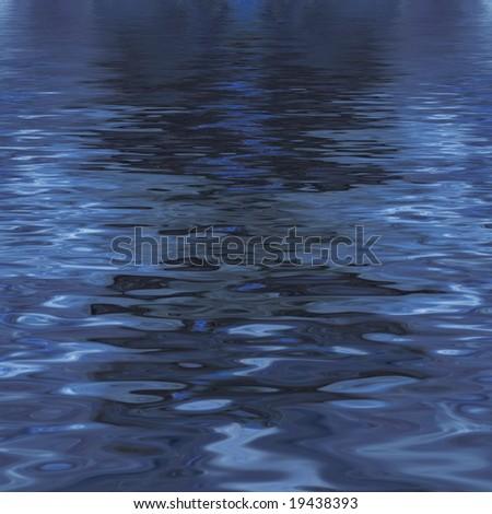 Water reflection nighttime - stock photo