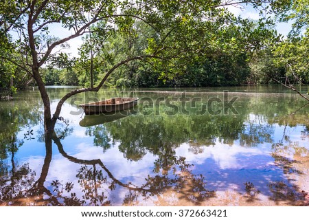 Water Reflections on Peaceful Tranquil Pond in Paradise. Rowboat Resting in Serene Reflecting Pool. Colorful Natural Beauty Landscape Background with Copy Space. - stock photo