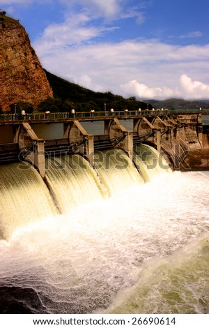 Water release at dam wall - stock photo
