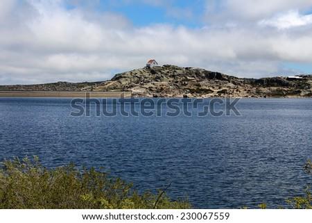 Water reservoir Lagoa Comprida, Portugal - stock photo
