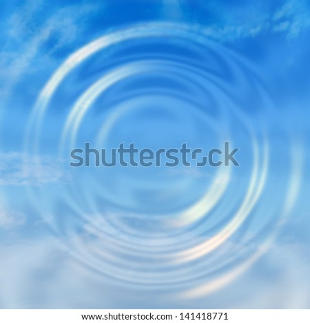Water ripple with sky reflection - stock photo