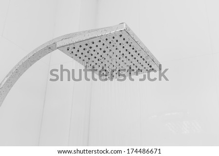 Water running from a shower head - stock photo
