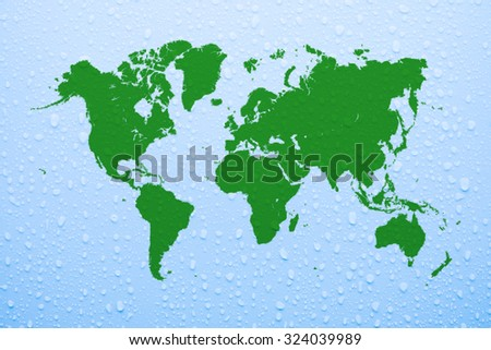 Water saving concept world map as background - stock photo