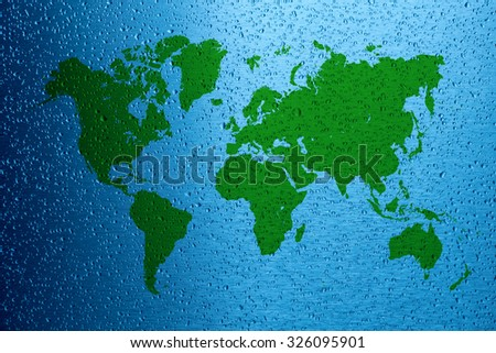 Water saving concept world map on blue metal surface - stock photo