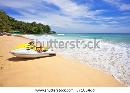 Water scooter on the beach. Phuket island. Thailand - stock photo