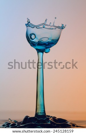 Water sculpture - Broken Glass - High Speed Photography - stock photo
