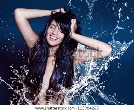 water-spa 01/2 girl in watersplash - stock photo