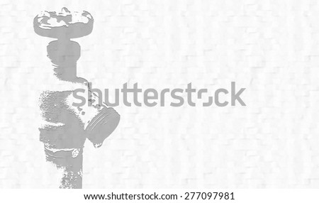 Water spigot on the left side with room on the right side of illustration for your message. Textured background. Dark gray spigot on light gray background. - stock photo