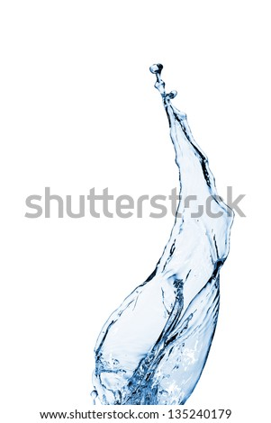 Water splash and bubbles. falling water - stock photo
