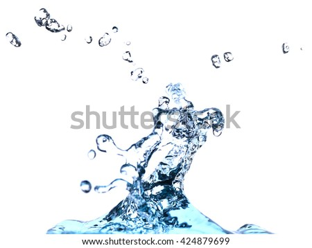 water splash - blue liquid wet wash splashing clear clean wave white gray background