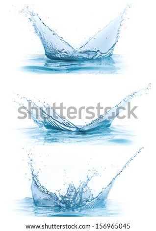water splash collection isolated on white background - stock photo