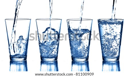 water splash collection on white background - stock photo