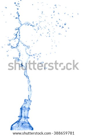 water splash from bottle isolated on white background, clipping path.