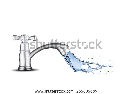 Water Splash from Water Tap On White Background - stock photo