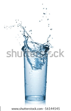 water splash in glass isolated on white - stock photo
