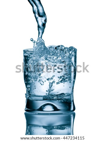 water splash in glass on white background