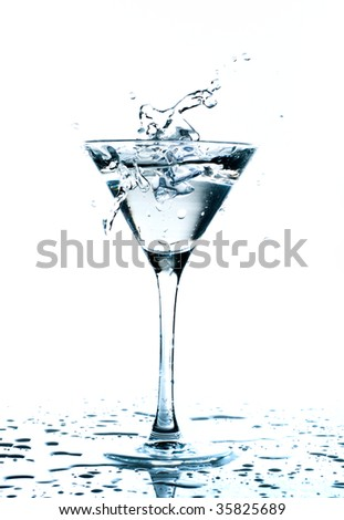 Water splash in martini glass
