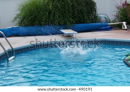 Pool Water Splash blue swimming pool water ladder pool stock photo 65224819