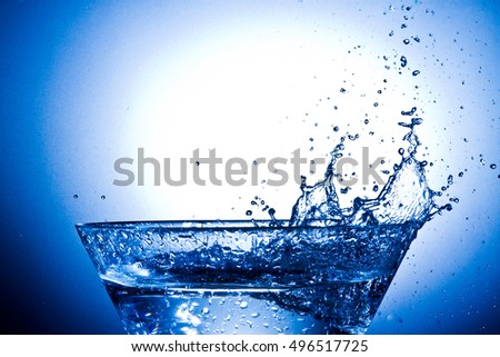 water splash in the bowl  on blue