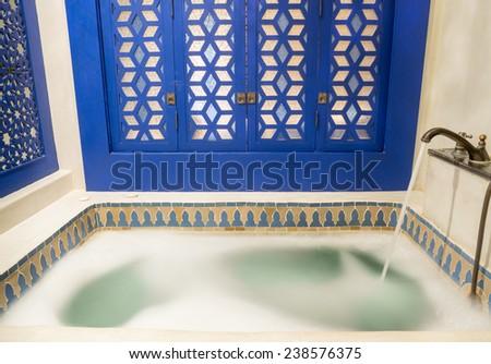 Water Splash in Vintage Jacuzzi - stock photo