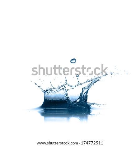 Water splash in white background - stock photo