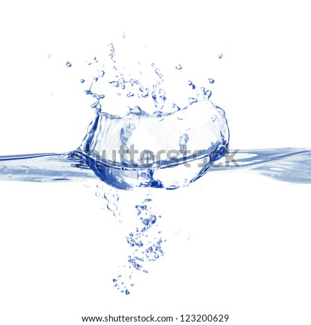Water splash isolated on white - stock photo