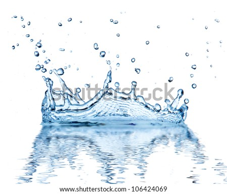 Water splash, isolated on white background - stock photo