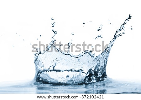 Water splash isolated on white background. Clear, fresh, healthy drink concept. - stock photo