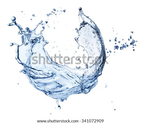 Water splash isolated on white background. closeup