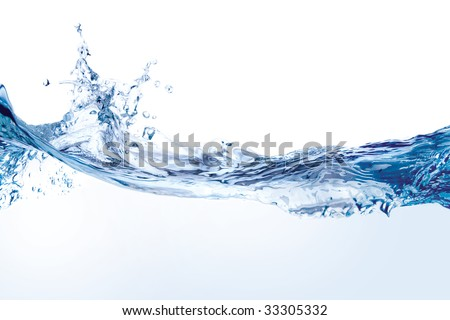 Water splash isolated on white. Close up of splash of water forming flower shape, isolated on white background. - stock photo