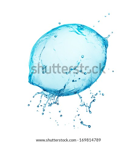Water splash lemon on white background - stock photo