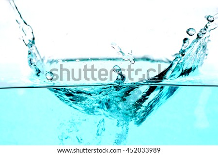 water splash - liquid wet wash splashing clear clean wave blue white background - stock photo
