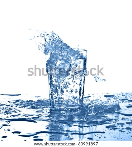water splash on a glass on white background - stock photo