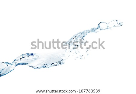 Water splash on a white background - stock photo
