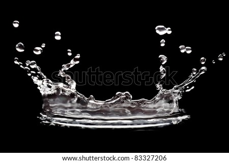 water splash on black background - stock photo