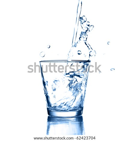 water splash on glass on white background