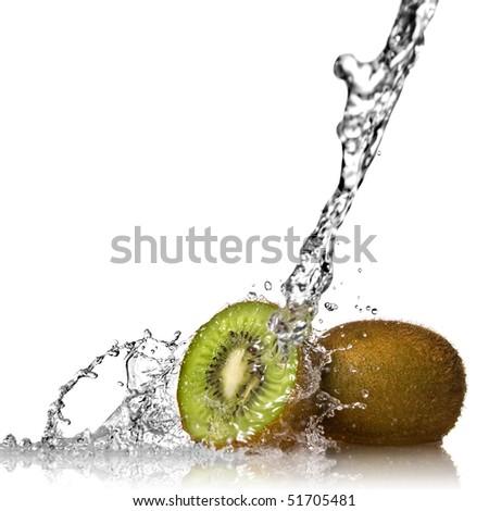 Water splash on kiwi isolated on white - stock photo