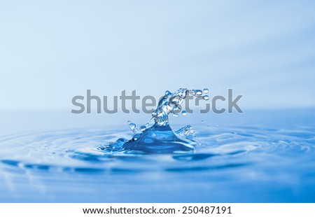 Water splash on surface of water, text space