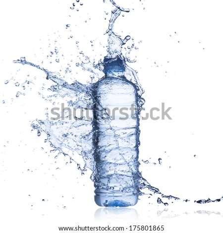 Water Splash on Water Bottle - stock photo
