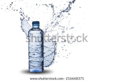 Water Splash on Water Bottle - stock photo