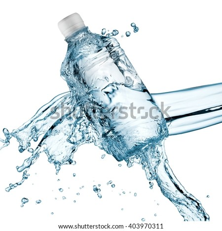 Water splash over a small plastic bottle - stock photo