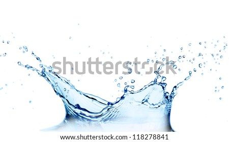 Water splash over white - stock photo