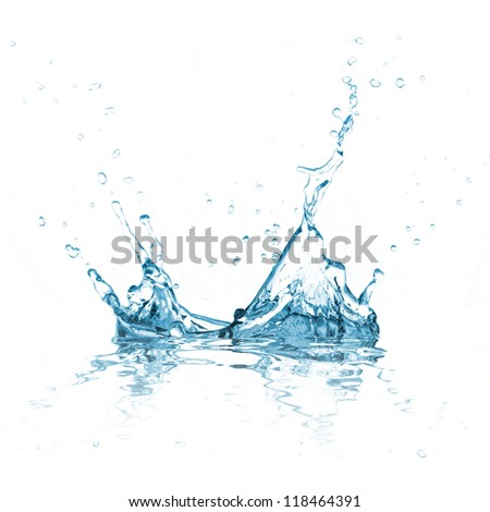 Water splash over white background - stock photo