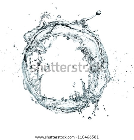 Water splash ring over white background - stock photo
