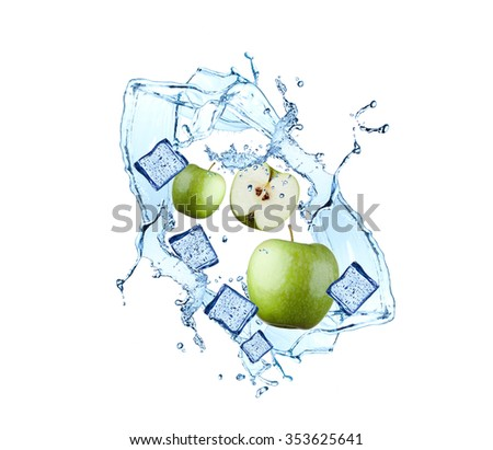 Water splash with fruits and ice cube isolated on white backgroud. Fresh apple
