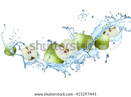 Water splash with fruits isolated on white background. Fresh apple