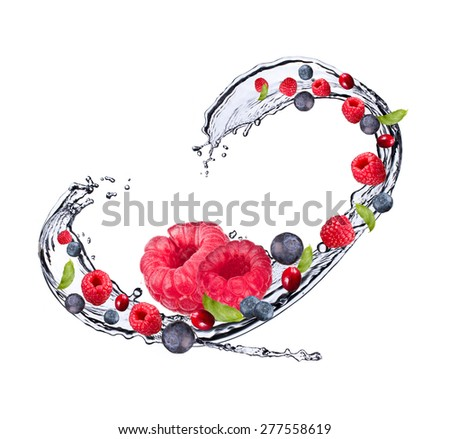 Water splash with raspberry and blueberry - stock photo