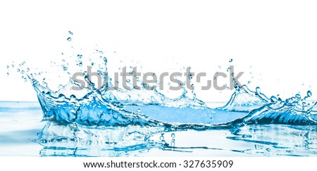 water splash with reflection - stock photo