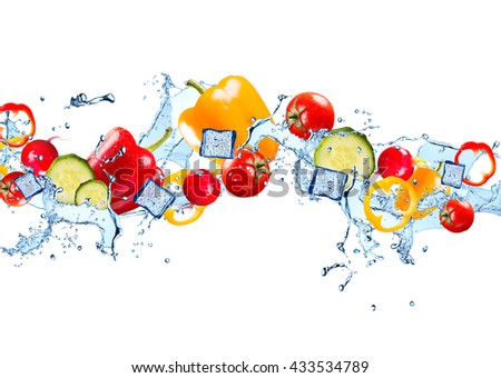 Water splash with vegetable isolated on white background. Fresh pepper, cucumber and tomato - stock photo